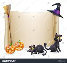halloween background of wich halloween background scroll sign with witch hat broomstick