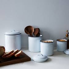 Green Canister Sets Kitchen White U0026 Grey Enamel Kitchen Canisters Set Of 4 On Food52