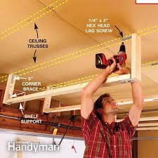 Build Wood Garage Shelves by Best 25 Overhead Garage Storage Ideas On Pinterest Diy Garage