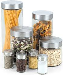 Glass Kitchen Canisters Airtight by Amazon Com Cook N Home Glass Canister And Spice Jar Set 8 Piece