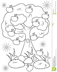 apple tree coloring page stock illustration image 50696986