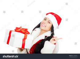 beautiful woman wear santa clause stock photo 116298436