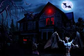 scary moon background halloween scary horror nights scarecrow pumpkin haunted house hd