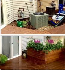 backyard decks and patios ideas ac unit cover up with large planter stained with walnut semi