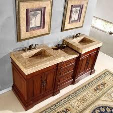 Bathroom Vanity Double 83 inch double sink vanity with a unique travertine top uvsr021983