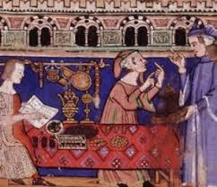 Merchants buying and selling elegant work they had made. Many were poor, and that didnt change till guilds were formed. Guilds became one of the highest of the middle ages citizens when they were created one step down from Kings,Queens, and so on.