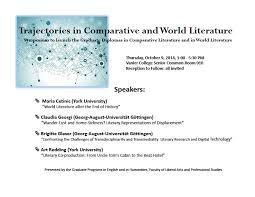 Graduate Diploma in Comparative Literature launch symposium     Graduate Program in Humanities   York University Mail Attachment