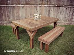 Building Plans For Picnic Table Bench by Build A Cedar Picnic Table The Contractor Chronicles