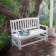 Outdoor Furniture Finish by 4 Ft Outdoor Patio Glider Chair Loveseat Bench In White Wood