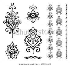 Indian Flower Design Set Vector Indian Floral Ornaments Mandala Stock Vector 408133423