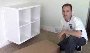 Hanging Bookshelves Ikea by Ikea Expedit Kallax Shelf How To Assemble And Wall Mount