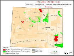 Wyoming Map Usa by Farming On The Edge State Maps American Farmland Trust