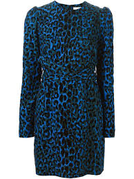 Blue Leopard Print by Victoria Victoria Beckham Leopard Print Dress In Blue Lyst