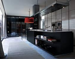 Red And Black Kitchen Ideas Kitchen Red Kitchen Cabinet Black Countertop Refrigerator Grey