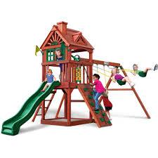 Cedar Playsets Gorilla Playsets Landing Cedar Wooden Swing Set Walmart Com