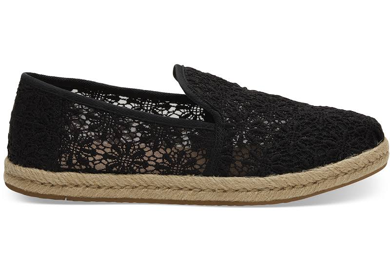 Toms Deconstructed Alpargata Rope Lace Black Floral Ankle-High Fabric Slip-On Shoes 9M