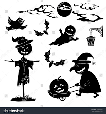halloween cartoon set black silhouette on stock vector 112943998