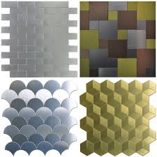 Kitchen Backsplash Samples Peel And Stick Metal Tiles Metal Backsplash Tiles For Kitchen