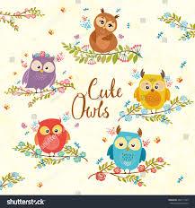 set cute owls on branch flowers stock vector 466117799 shutterstock