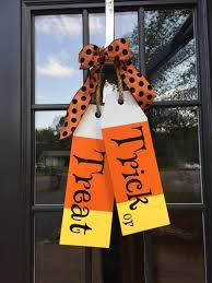 small halloween gifts large wood tags door hanger trick or treat hand painted