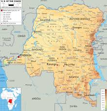 Physical Map Africa by Physical Map Of Democratic Republic Of Congo Ezilon Maps