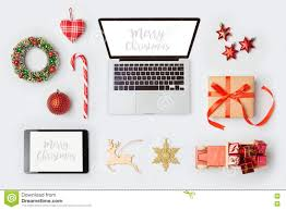 christmas decorations laptop computer and objects for mock up