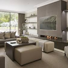 Neutral Family Rooms Contemporary Family Rooms Modern Tv Wall - Contemporary family room design