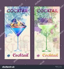 artistic decorative watercolor cocktail poster disco stock vector