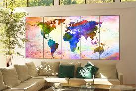 World Map Canvas by Wall Art World Map Print On Canvas Wall Art World Map Print Decor