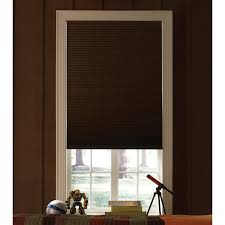 window custom brown levolor cellular shades covering a glass