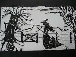 halloween wall art papercut halloween witch ghost spider and spooky tree illustration
