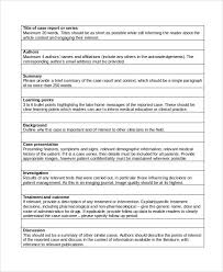Medical Case Report Template  potspan case study template  the