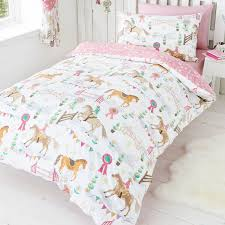 Girls Horse Bedding Set by Horse Pony Jumping Show Time Duvet Quilt Cover Daisy Prize