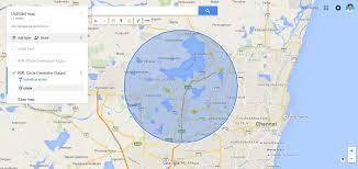 Lat Long Map Kml Google Map Circle Generator Script In Php Knackforge Your