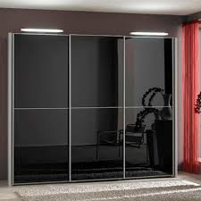 Wardrobes With Sliding Doors White Brown Glass Sliding Door Wardrobe With Lighting Decoration