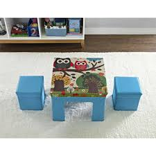 altra kids fabric table and ottoman set with owl pattern blue