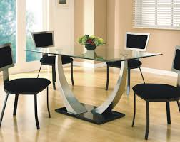 Glass Rectangle Dining Table Modern Camille Glass Dining Table Feature Curve 2 Steel Dining