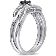 halloween wedding rings 1 4 carat t w black and white diamond sterling silver bridal ring