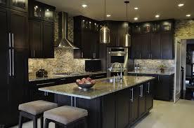 kitchen unusual dark kitchen design with cream tile backsplash