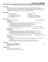 Writing A Summary For Resume Best Paralegal Resume Example Livecareer