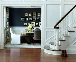 wainscoting foyer dining room transitional with hydrangeas