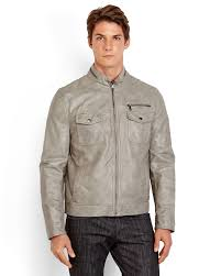 men s moto jacket kenneth cole reaction faux leather moto jacket in gray for men lyst
