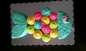 Rainbow fish pull apart cake