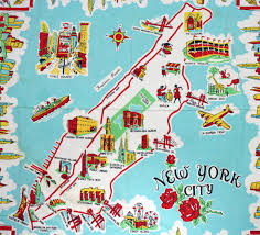 Map New York City by Large Illustrated Tourist Map Of New York City Vidiani Com