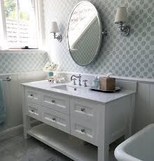 Pottery Barn Kids Bathroom Ideas Marble Bathroom White Custom Vanity Trellis Wallpaper Aqua