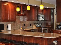 Pendant Light Kitchen Backsplash Cherry Cabinets Black Counter - Kitchen backsplash ideas dark cherry cabinets