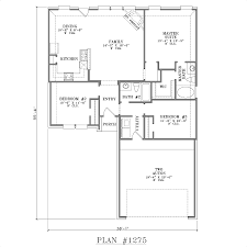Simple House Floor Plan Design One Story House Plans With Open Concept Plan 1275 Floor Plan With