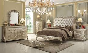 Pc Queen Victoria Renaissance Style Antique Silver Queen Bedroom - White tufted leather bedroom set