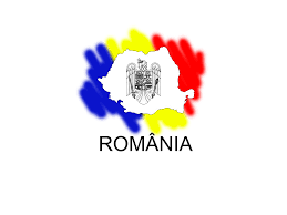 This is the country of Romania with it's crest in the middle and their flag design as a background color.