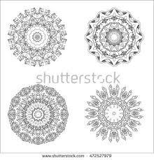 Indian Flower Design Mandala Set Ethnic Indian Magic Symbol Stock Vector 472527979